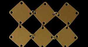 Metal curtain with square plates - gold