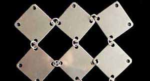 Metal curtain with square plates - inox